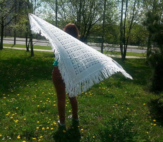 Mariage - BIG bridal wedding shawl, knitted white lace wrap, winter wedding bride off white warm sparkle
