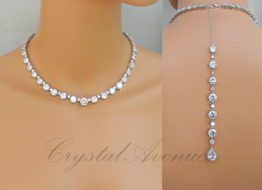 Mariage - Backdrop Bridal Necklace, Crystal Wedding necklace, Dainty Bridal Jewelry, Wedding jewelry, Crystal Bridal Jewelry,  Nikki Crystal Necklace