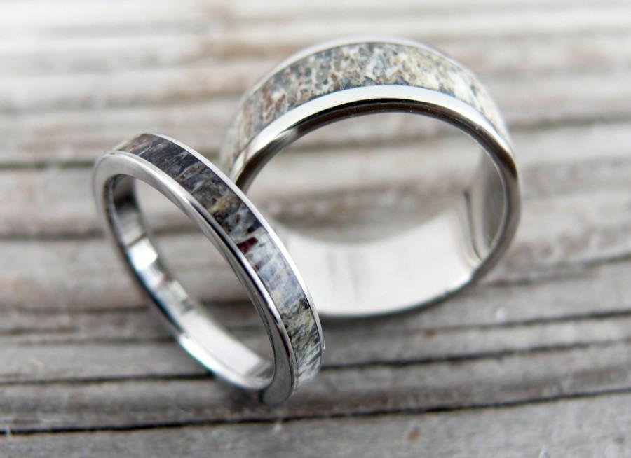 titanium and deer antler wedding band set wedding ring deer antler ring bone ring antler ring with engraving - Antler Wedding Rings