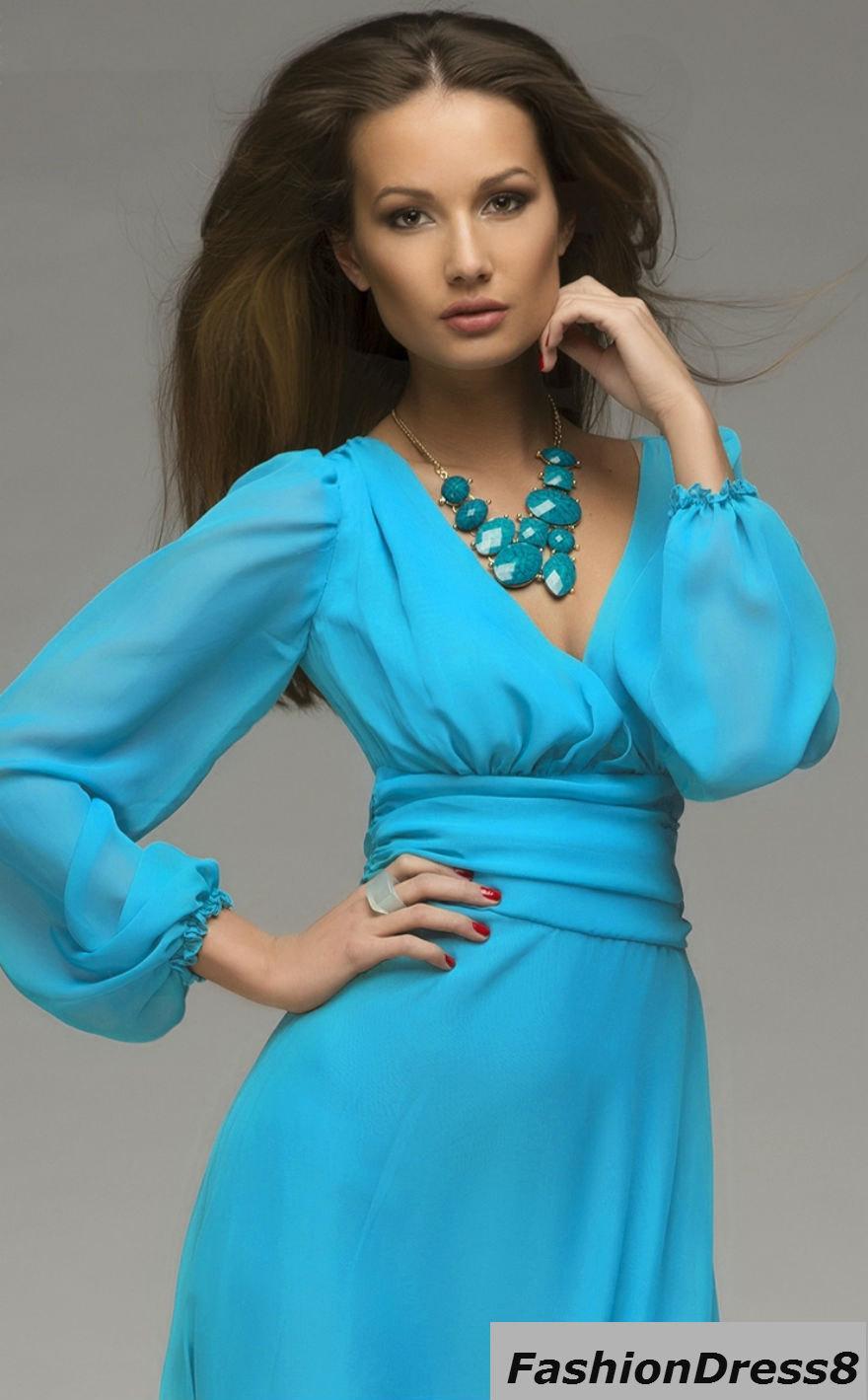 Mariage - Blue Maxi Dress Chiffon ,Long Sleeve Evening Dress Bridesmaid.