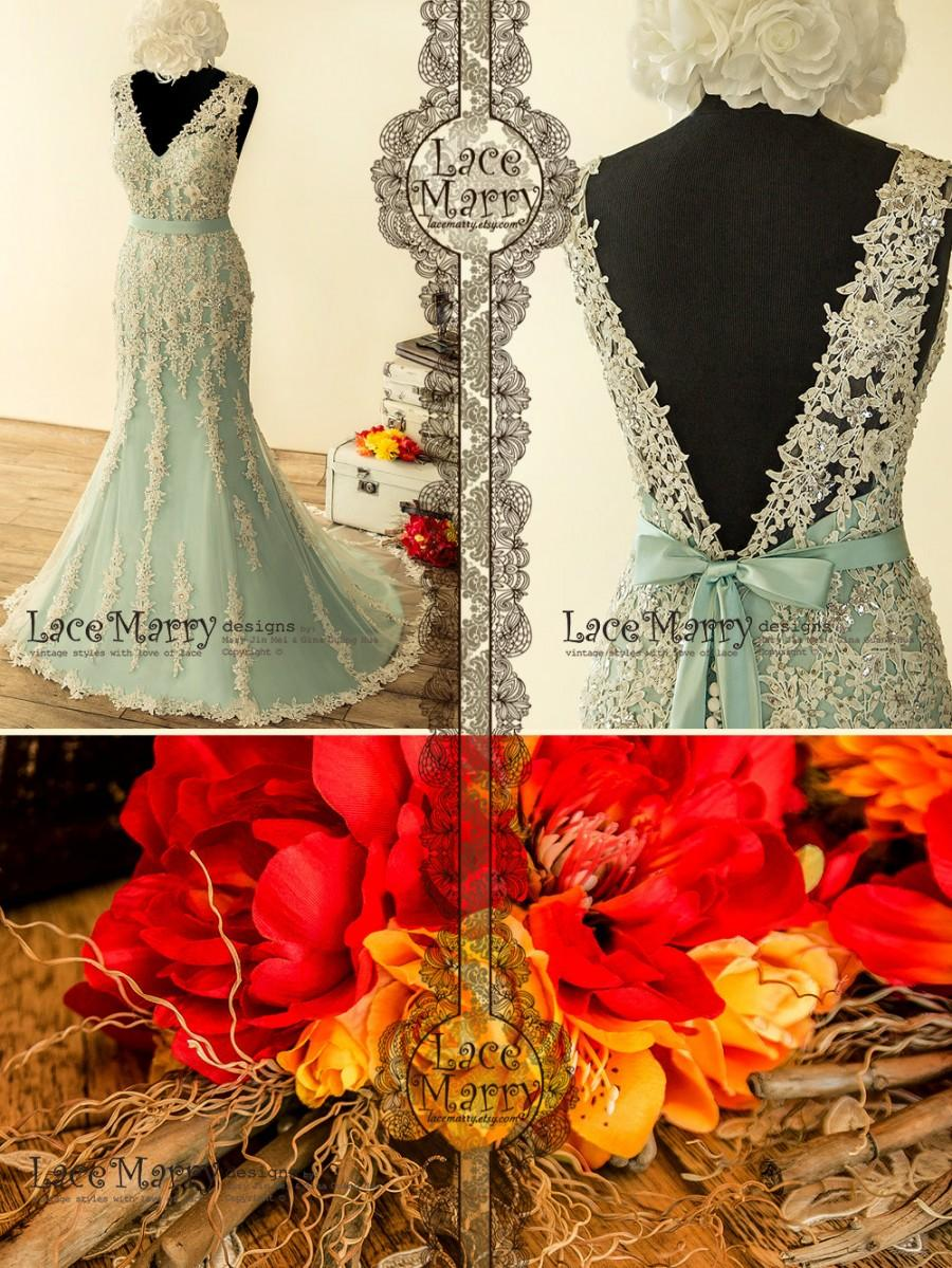 Mariage - Fabulous Teal Wedding Dress with Intensive Beaded Venice Lace Appliqué featuring V Neckline, Deep V Cut Back