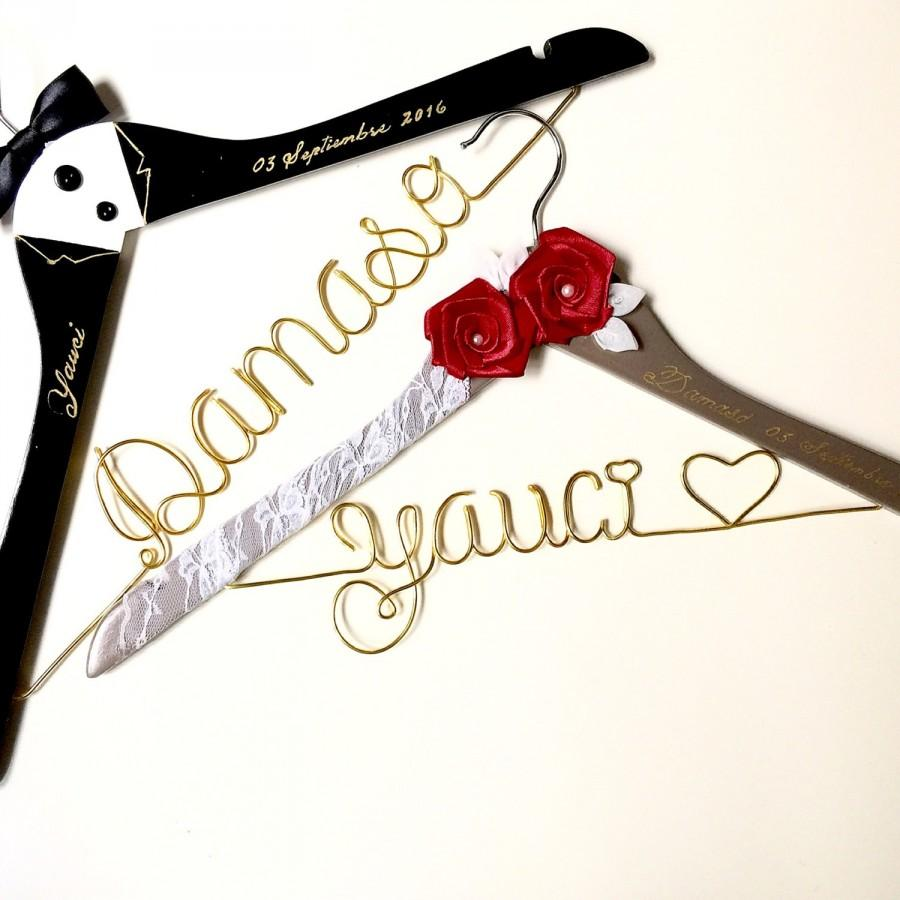 Mariage - Vintage wedding, Personalized Custom Bridal, Brides Hanger, Bride, Name Hanger, Wedding Hanger, Personalized Bridal Gif