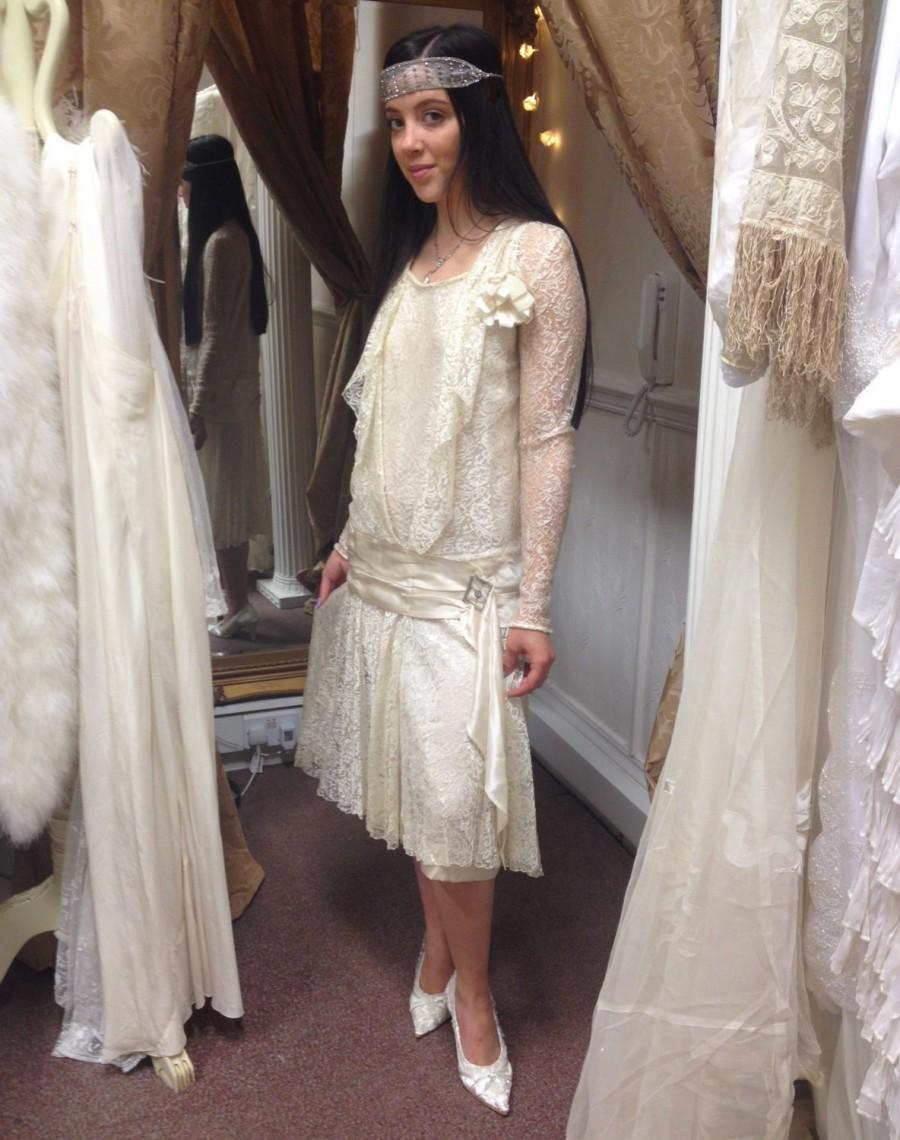 Mariage - Amazing Original 1920's Flapper Gatsby Wedding Dress by Marvelle Frocks Macy & Co Broadway New York