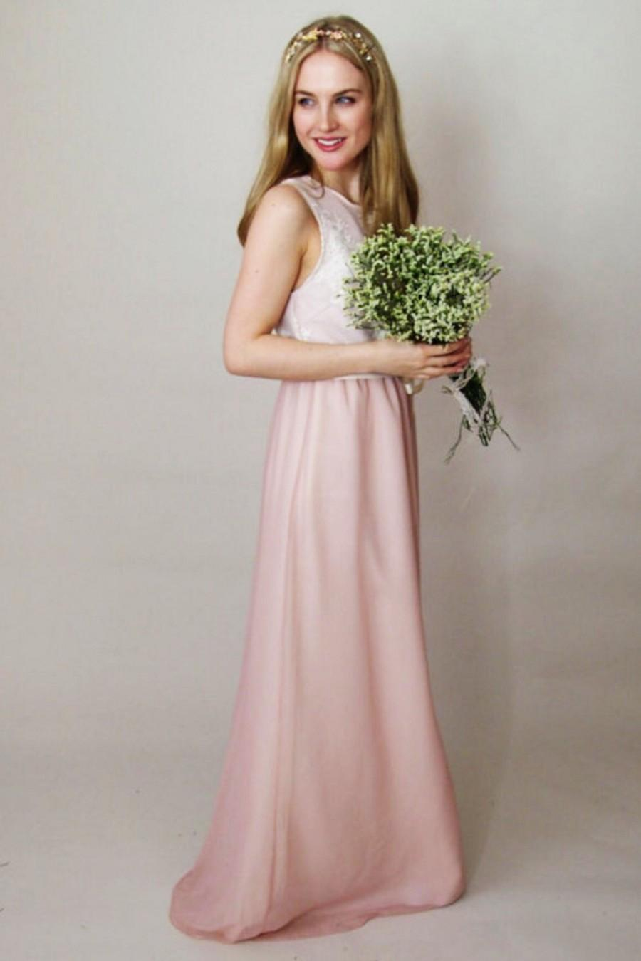 Wedding - HOLLIE - scoop neck bridesmaid dress in blush pink chiffon with lace bodice and grosgrain ribbon tied at the waist - simple, modern, bohemia