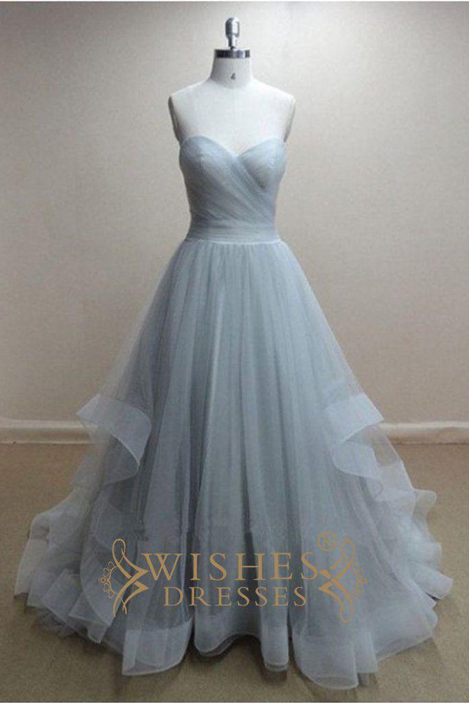 Hochzeit - A-line Sky Blue Organza Long Prom Dress /Wedding Dress AM300
