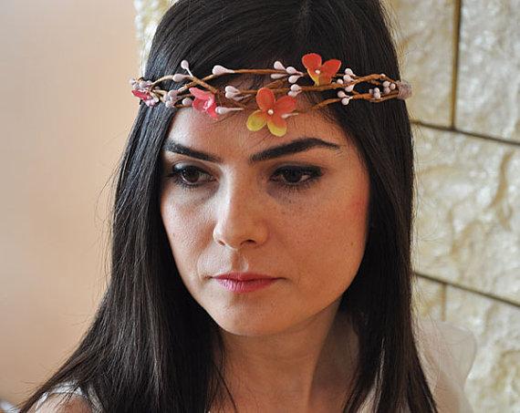 Wedding - Wedding flower crown, Hair floral crown, Wedding Hairpiece, Rustic Head Wreath, wedding Accessories