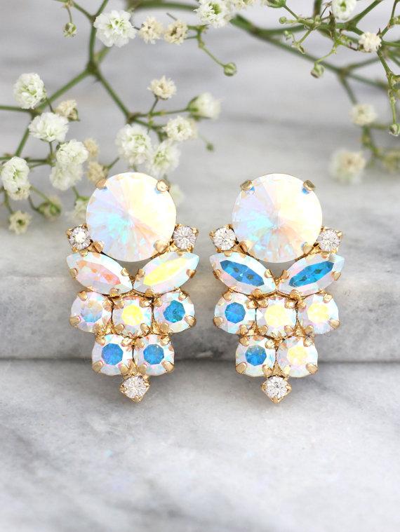 Wedding - Aurora Borealis Earrings, Bridal Earrings, Bridal Cluster Earrings, AB Crystal Earrings,Bridesmaids Earrings, Gift For,Ice Crystal Earrings