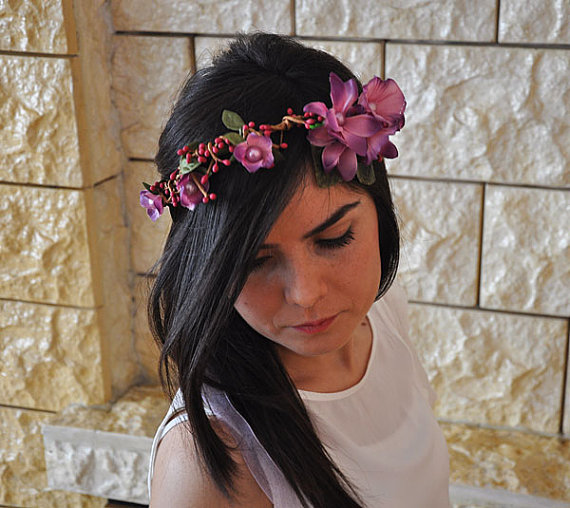 Wedding - Wedding flower crown, Hair floral crown, Wedding Hairpiece, Rustic Head Wreath, wedding Accessories