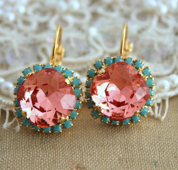 Wedding - Peach Earrings,Coral Mint Earrings,Swarovski Salmon Pink Earrings,Bridesmaids Earrings,Turquoise Peach Earrings,Gift For Her,Drop Earrings