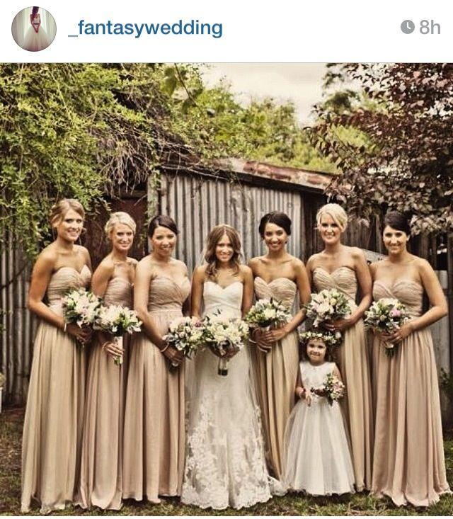 Hochzeit - Champagne Bridesmaid Dress