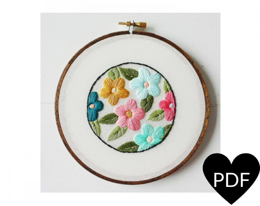 picture regarding Printable Embroidery Patterns called Retro Floral Embroidery Behavior, PDF Habit, Classic