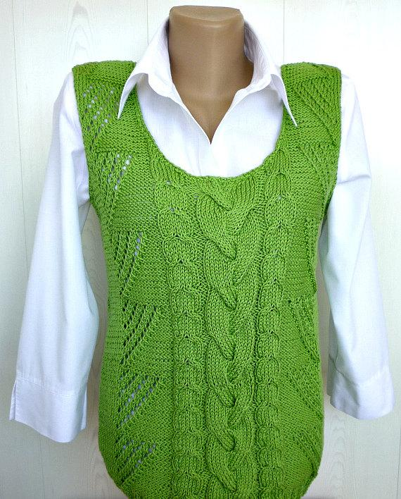 Hochzeit - Summer top Green apple cotton tank summer vest knit top summer top beach top gift for girlfriend gift for mom loose tank top green