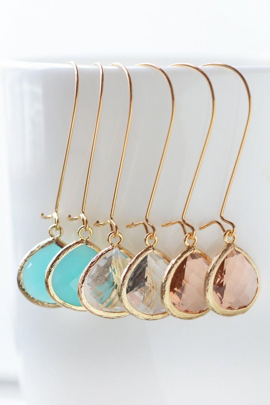 زفاف - Bridal Jewelry Bridal Earrings, Mint Earrings, Peach Earrings, Crystal Drop Earrings Dangle Earrings Wedding Party Limonbijoux