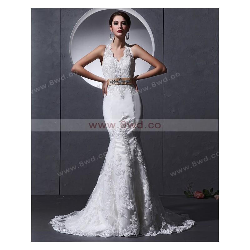Свадьба - Trumpet/Mermaid Halter Sleeveless Tulle White Wedding Dress With Appliques BUKCH114 In Canada Wedding Dress Prices - dressosity.com