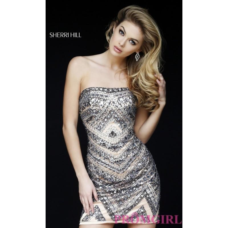 Short Beaded Strapless Dress By Sherri Hill Discount Evening