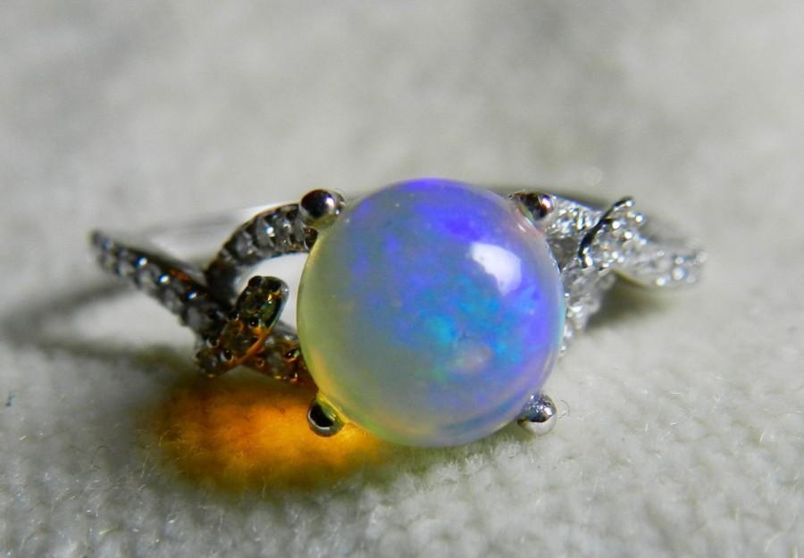 زفاف - Opal Ring Opal Engagement Ring 1.16 Ct Natural Round Opal 18k White Gold Ring 0.14cttw Diamond accents Unique Engagement Ring