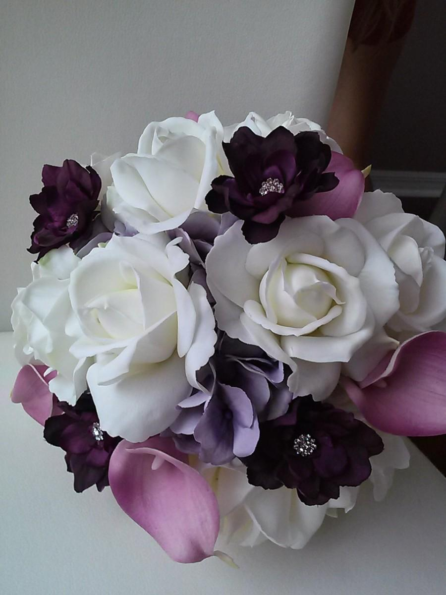 Purple and white real touch rose bouquet bridal bouquet bridesmaid purple and white real touch rose bouquet bridal bouquet bridesmaid bouquet rose and calla lily bouquet izmirmasajfo