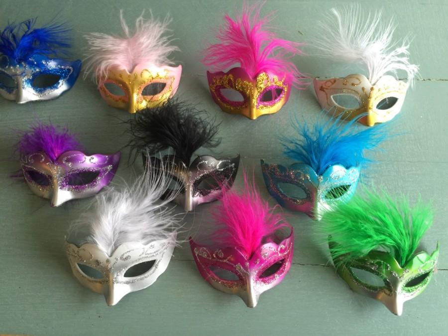 c4382ae211f 12 OMBRE style Mini Mardi Gras Feathered GLITTER MASK party decorations  wedding quince favor