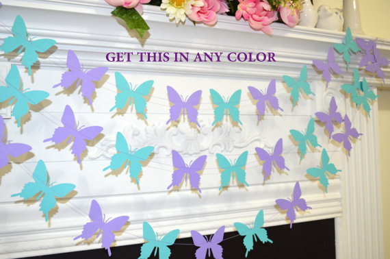 Свадьба - Butterfly garland, wedding garland teal lilac purple butterfly, butterfly theme decor, birthday decor, baby shower garland, butterflies