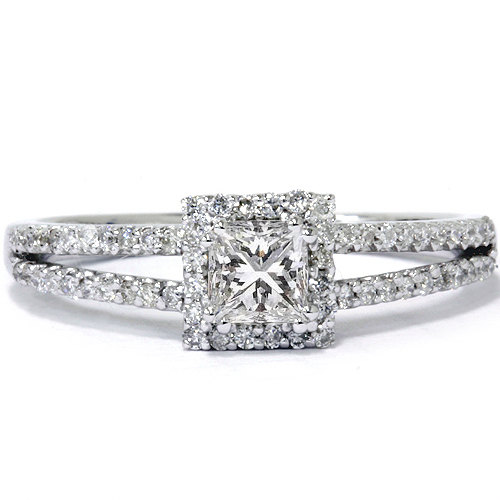 Mariage - Princess Cut .60CT Diamond Engagement Split Shank Pave Halo Ring Band 14K White Gold Size 4-9