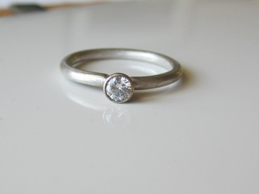 Wedding - Modern Moissanite Engagement Ring Recycled Argentium Sterling Silver and White Gold Eco Friendly Ethical