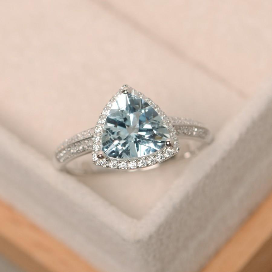 Mariage - Aquamarine ring, triangle cut engagement ring, March birthstone, natural aquamarine
