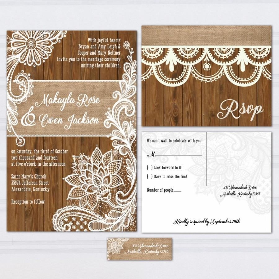 Wood Lace Wedding Invitation Suite Burlap And Lace Wood Panel