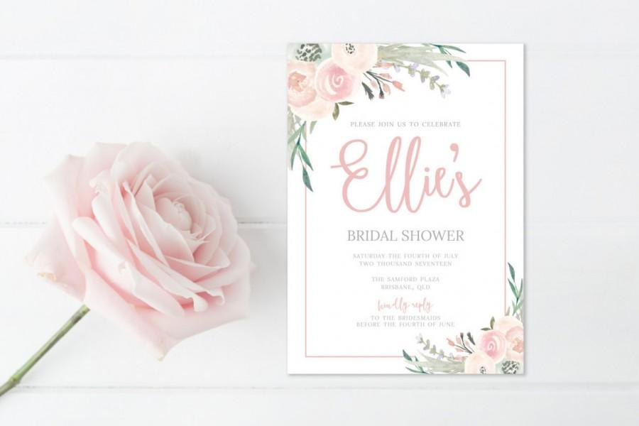 bridal shower invitation watercolor bridal invite floral bridal shower card instant digital download file pdf bride diy