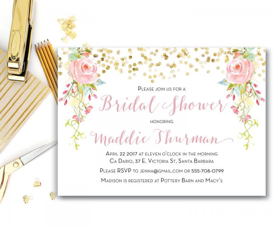 زفاف - Printable Bridal Shower Invitation, Blush Pink Watercolor Roses and Peonies Bridal Shower Invitation, Pink Gold Shower Invitation, The Rosa