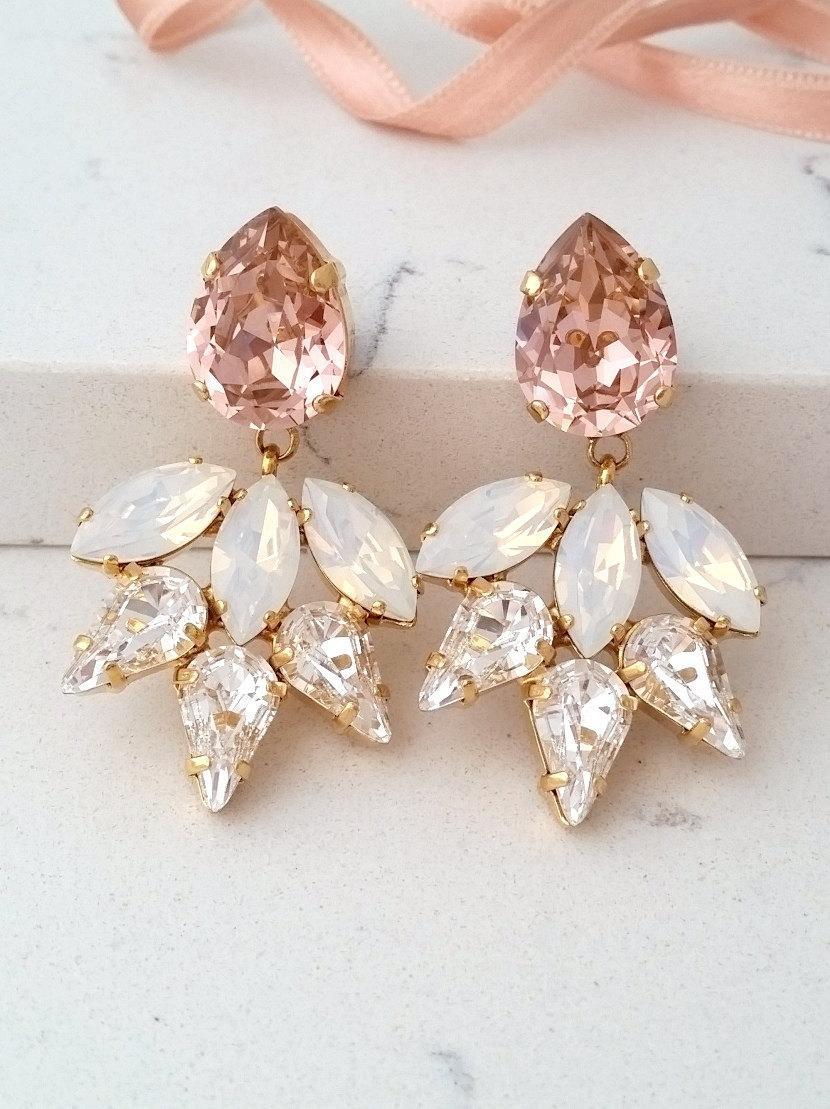 Blush Earring Bridal Chandelier Earrings White Opal