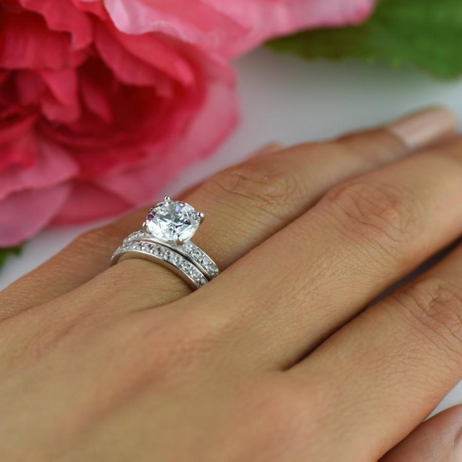 زفاف - 60% off 2.25 ctw Round Solitaire Wedding Set, Channel Accented Bridal Rings, Man Made Diamond Simulants, Engagement Ring, Sterling Silver