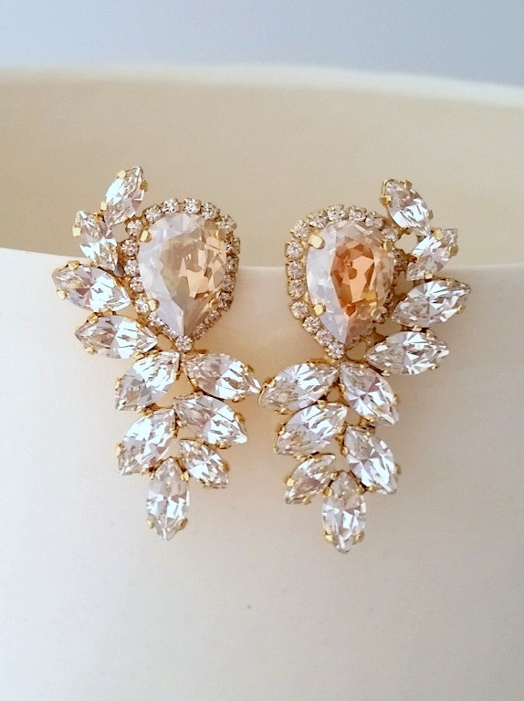 Champagne And Clear Diamond Statement Stud Earrings Extra Large Swarovski Crystal Bridal High Fashion