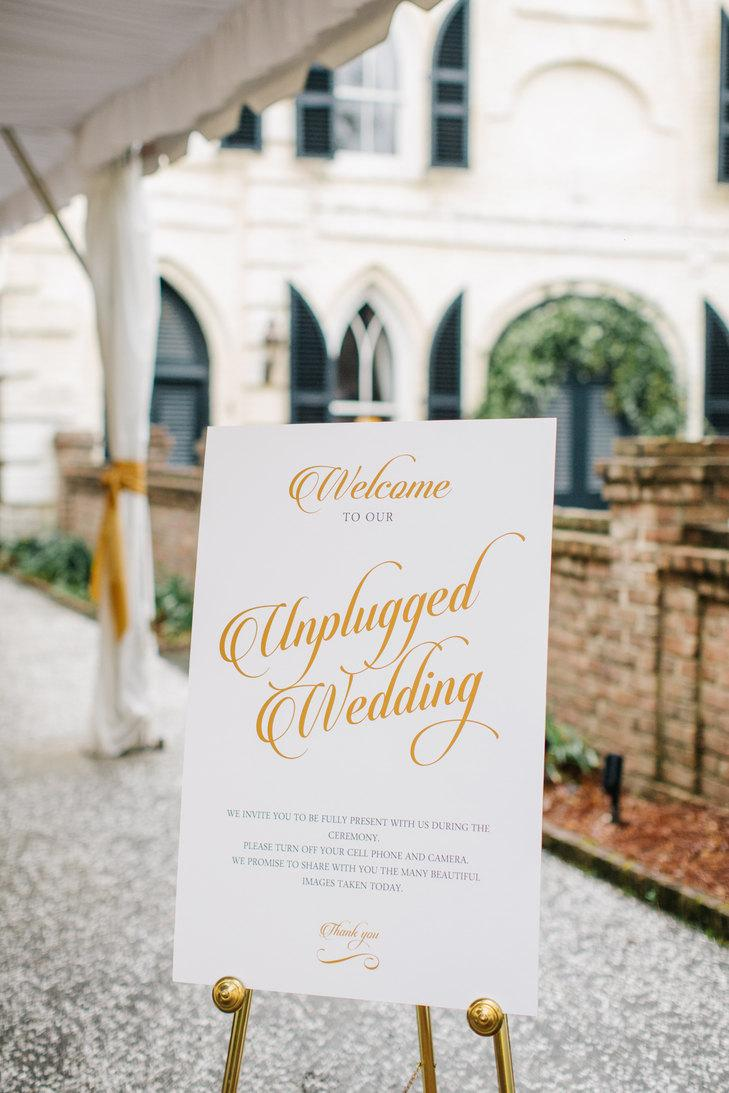 Düğün - GOLD Unplugged Wedding Sign - Printable Wedding Reception Sign