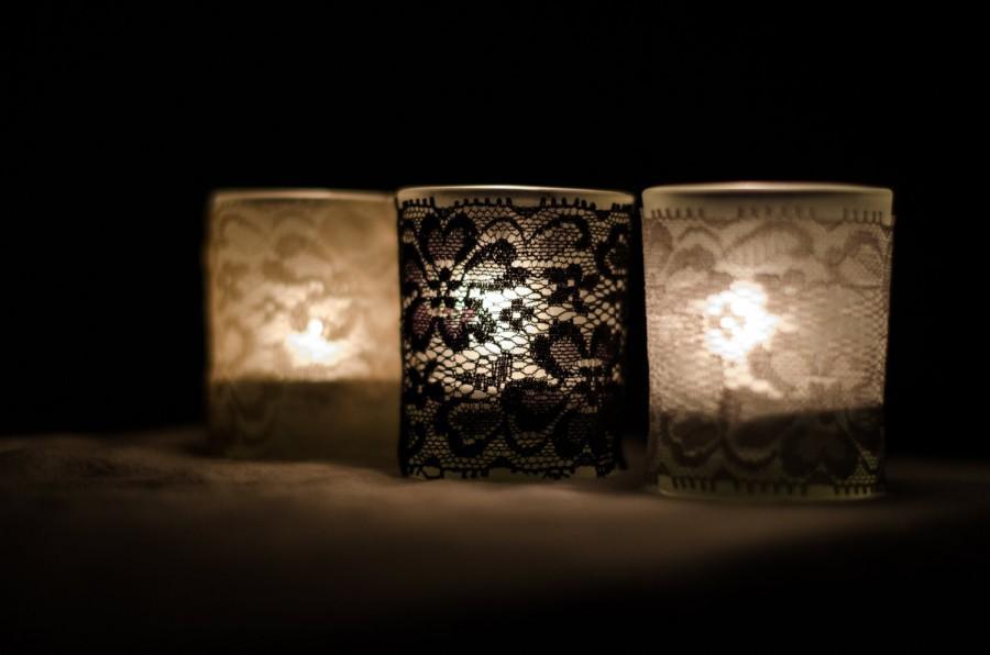 Hochzeit - Set of 25  Vintage lace votive candle slip covers