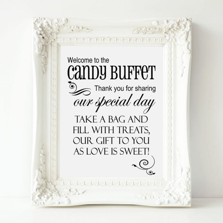 Hochzeit - Welcome to the Candy Buffet Wedding Sign, PRINTABLE, Wedding Reception Sweets Table, Candy Buffet Bag Sign, Candy Table Sign, Candy Box