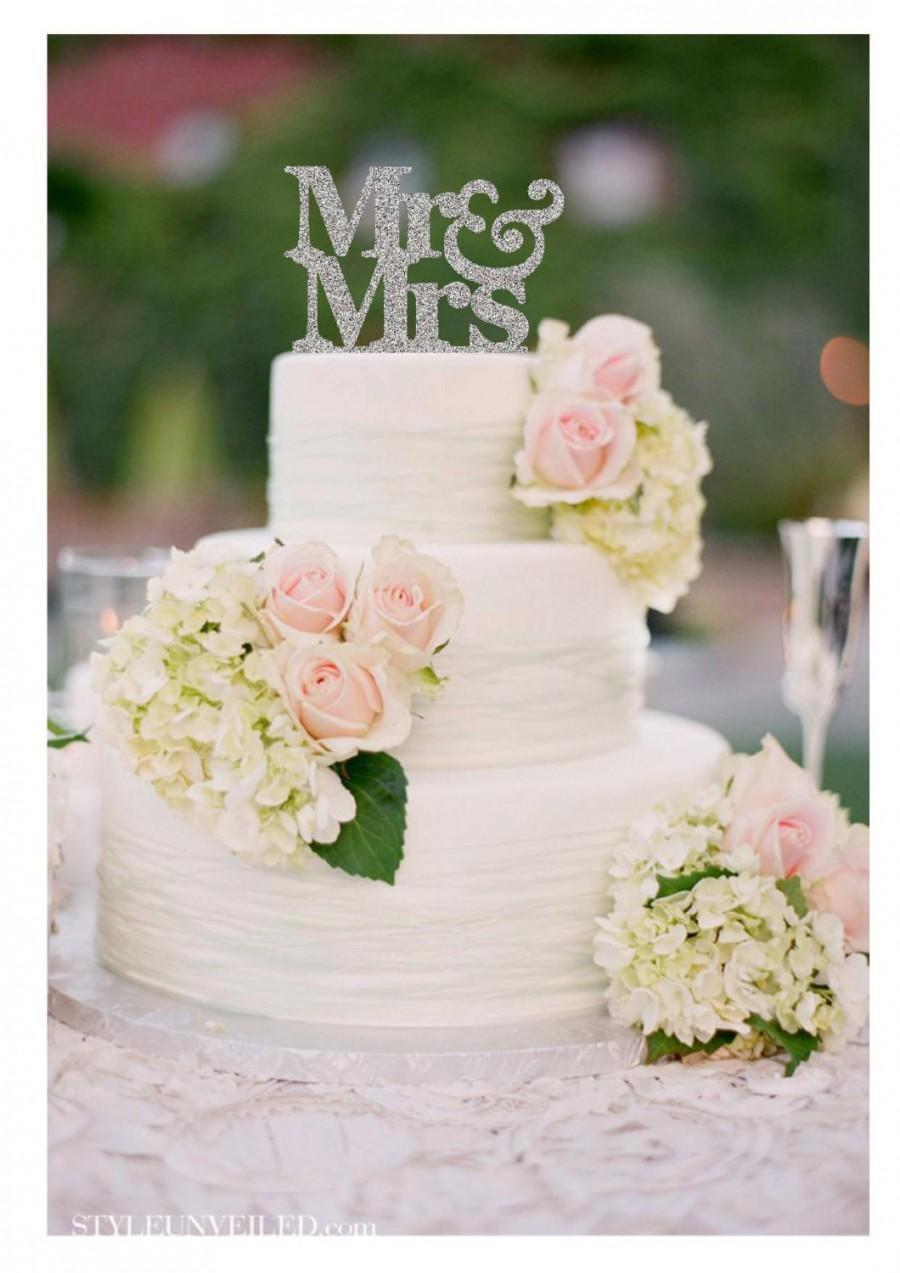 Mariage - Wedding Cake Topper Mr and Mrs Wedding Cake Topper Engagement Cake Topper Glitter Wedding Cake Topper Wedding Decorations
