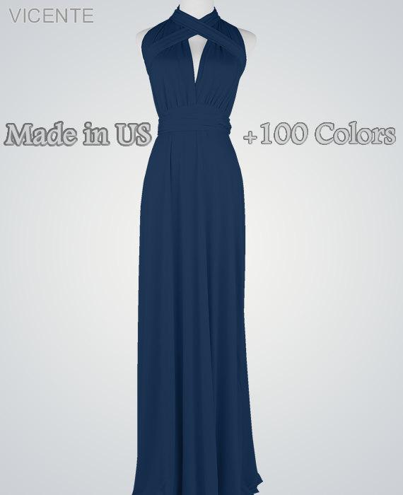Свадьба - Navy Blue bridesmaid dress Long infinity dress Convertible dress Multiway dress