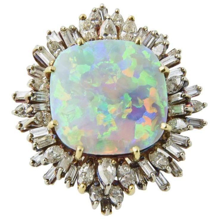 Wedding - Intense Gray Crystal Harlequin Opal Diamond Gold Ring