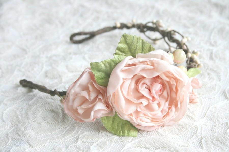 Свадьба - Woodland Peach Flower Crown, Natural, Romantic Head Piece, Bridal Crown, Boho, Mori Girl