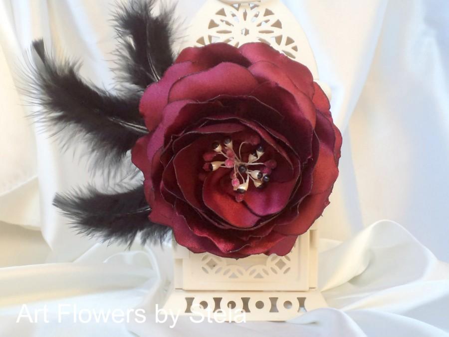 Свадьба - Burgundy Headpiece, Large Red Hair Flower, Satin Hair Rose, Scarlet Flower Pin, Red Wedding Hair Flower, Satin flower with feathers