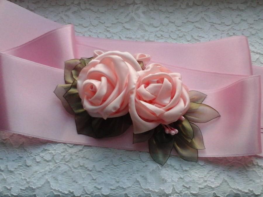 Свадьба - Pink Bridal Belt, Pink Wedding Sash Belt, Rustic Wedding Dress Sash Belt, Country Wedding  Belt, Maternity Sash, Flower Girl Dress Sash Belt