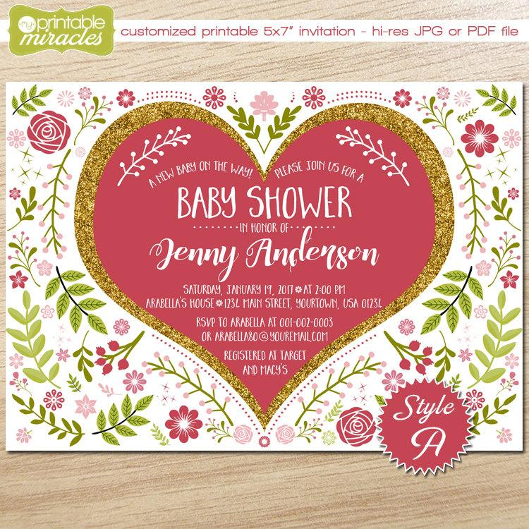 Hochzeit - Floral baby shower invitation, Printable pink gold shower invite, Heart shaped romantic flower garden summer baby shower invitation for girl