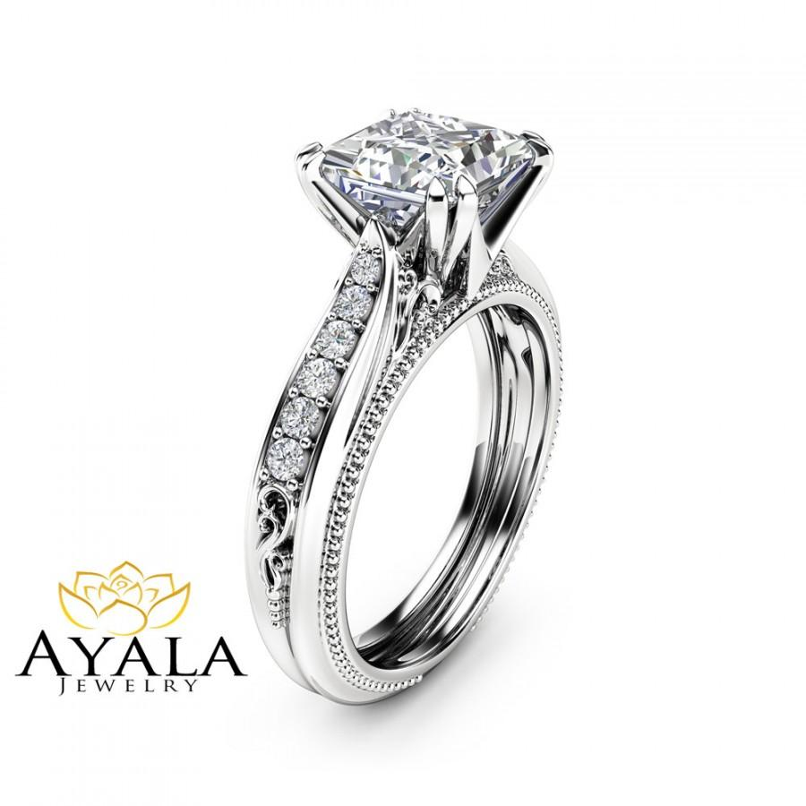 Mariage - Victorian Moissanite Engagement Ring 14K White Gold Engagement Ring Princess Moissanite Ring