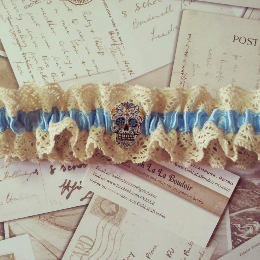 Wedding - Blue garter, Sugar skull garter, gothic garter, skull garter, rockabilly, calaveras, day of the dead, zombie, walking dead, burlesque, hen