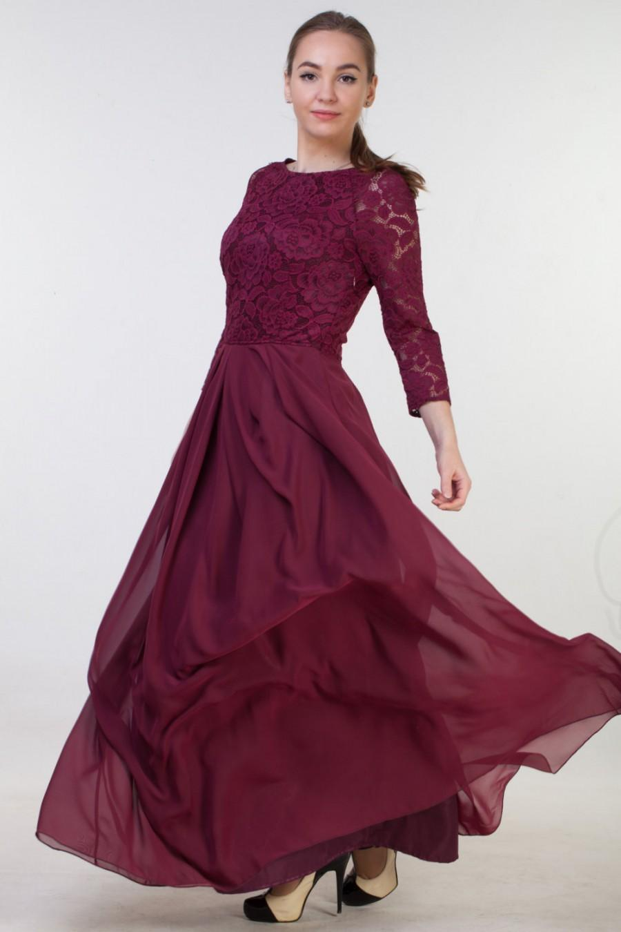 d58dcc54b1b0 Long burgundy lace dress for bridesmaids Burgundy bridesmaid dress Long  bridesmaid dress Long prom dress Burgundy dress women