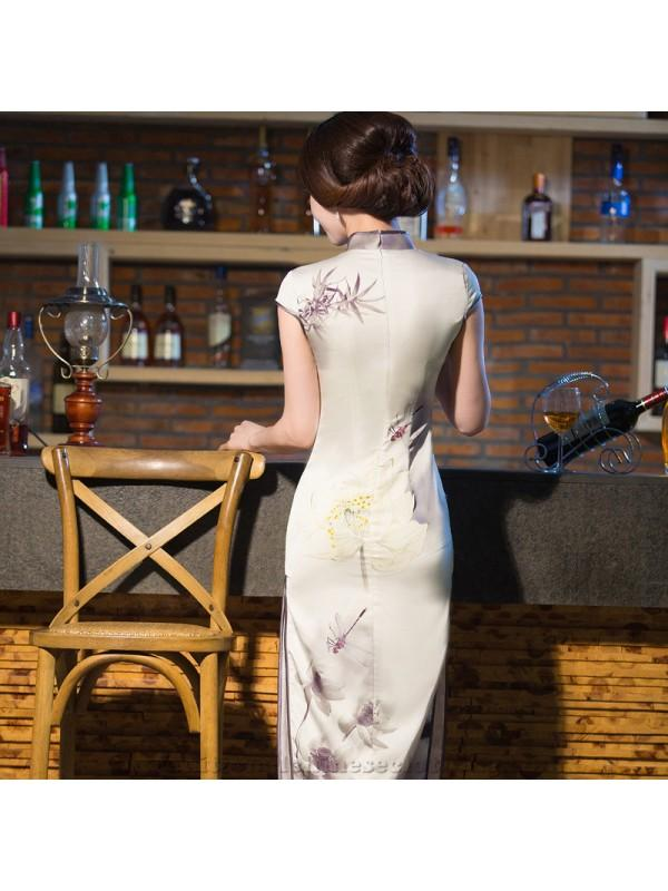 Düğün - 2017 Autumn New Style Real Silk Long Cheongsam/Qipao Vintage Silk One-piece Dress Formal Dress Traditional Chinese Garments/Tang Costume Wholesale - Cntraditionalchineseclothing.com