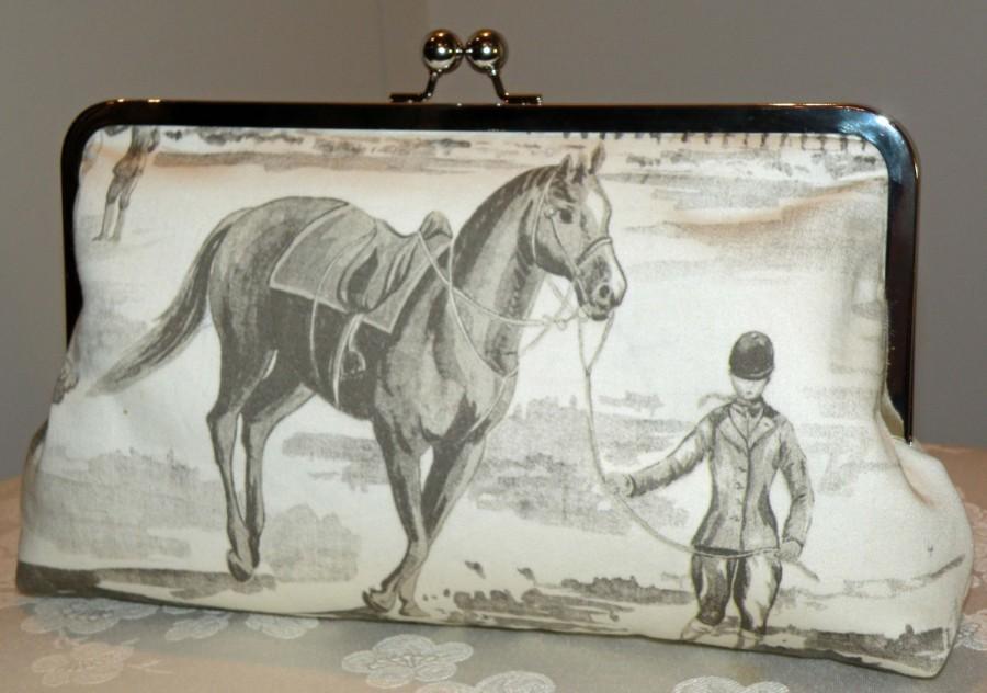 Mariage - Large10in. Equestrian Clutch/Purse/Bag/Bridal Theme..Horse/Rider Jumper Paddock Barn..Long Island Wedding Gift..Cream/Gray/Pink Designer Fab