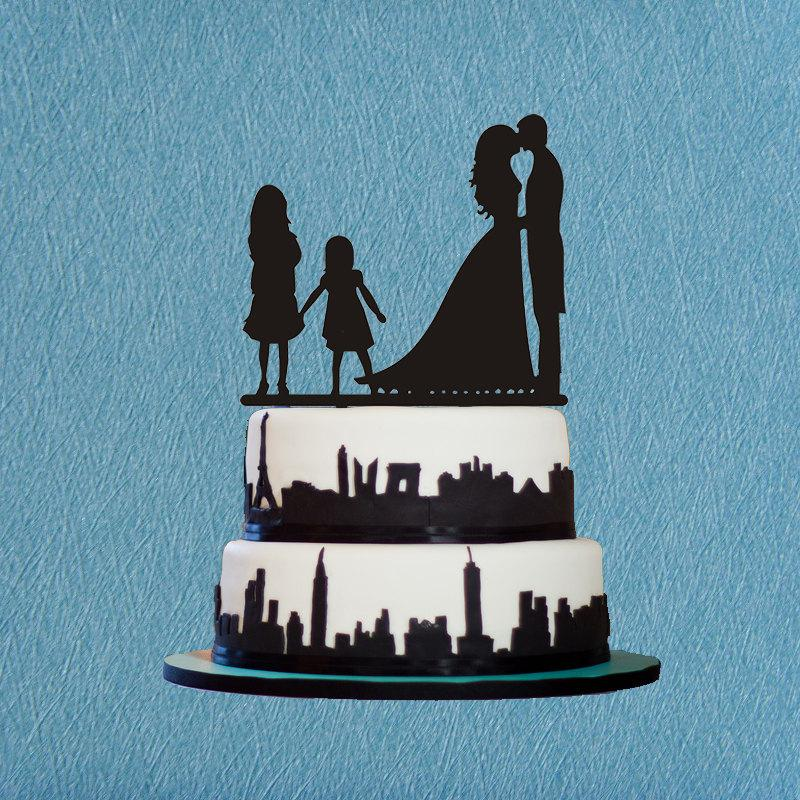 زفاف - Family Wedding Cake Topper With Two Girls.Bride and Groom Silhouette,Wedding Silhouette,Rustic Cake Topper,Funny Wedding Cake Topper