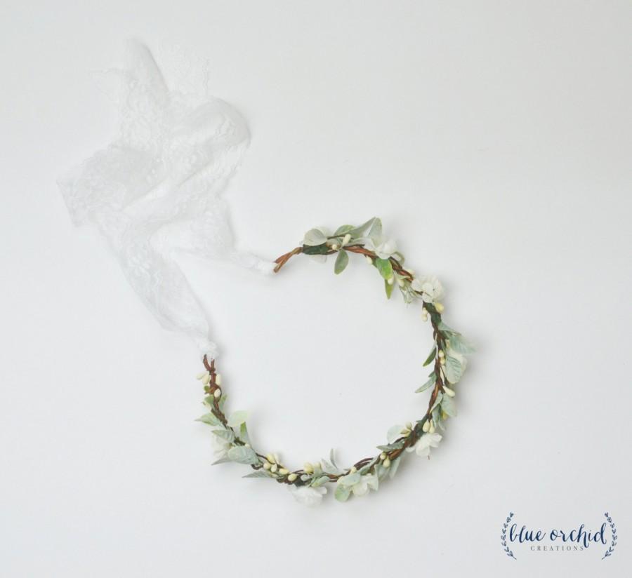 Wedding - Flower Crown, Silk Flower Crown, Leaves, Artificial Flower Crown, Floral Crown, Silk Floral Crown, Greenery, Berries, White and Green, Cream