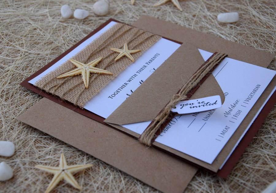 beach wedding invitation starfish invitation destination wedding